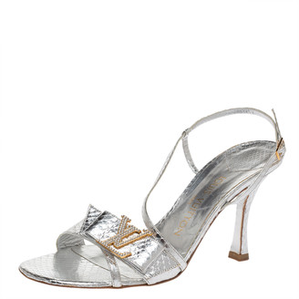 Louis Vuitton Silver Python Embossed Leather Logo Embellished Ankle Strap Sandals Size 38.5