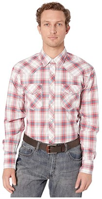 Wrangler 20X Long Sleeve Plaid Snap (Red/Teal) Men's Clothing