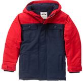 Gymboree Dark Marine & Red Color Block Puffer Coat - Boys
