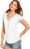 Lucky Brand Top, Short-Sleeve Split-Neck Ruched Tee