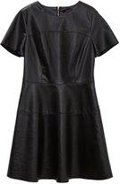 ME&CITY Women's Solid Short Sleeve Color PU Leather A-line Dress, M
