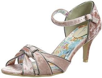 Joe Browns Women's Heaven Sent Velvet Shoes Ankle Strap Sandals, (Pink/Black), 38 EU