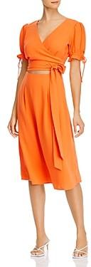 Aqua Puff-Sleeve Cutout Midi Dress - 100% Exclusive