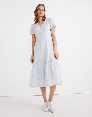 Madewell Ruched-Front Ruffle-Hem Midi Dress in Fleur Field