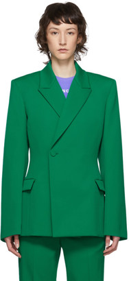 Balenciaga Green Wool Waisted Blazer