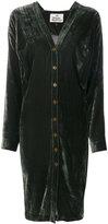 Vivienne Westwood buttoned V-neck dress - women - Silk/Bamboo - 44