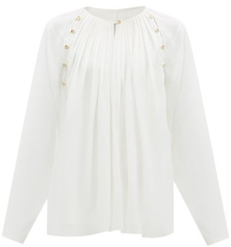 Chloé Pleated Silk-georgette Blouse - Cream