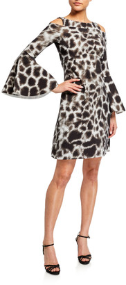 Chiara Boni Adut Printed Cold-Shoulder Bell-Sleeve Dress