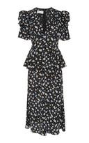Michael Kors Floral-Print Peplum Silk-Chiffon Midi Dress