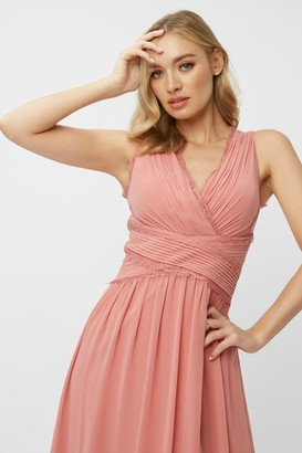 Little Mistress Bridesmaid Corrina Desert Rose Lace-Trim Maxi Dress