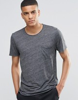 Selected Melange T-Shirt with Raw Edge