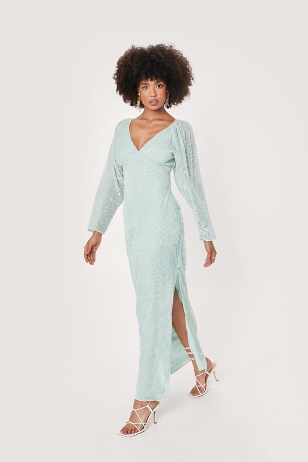 Thumbnail for your product : Nasty Gal Womens Bridal Leopard Devore Slit Maxi Dress - Green - 4