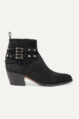 Valentino Garavani Rockstud 50 Suede Ankle Boots - Black