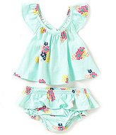 Jessica Simpson Baby Girls Newborn-9 Months Floral-Printed Ruffled Top & Bloomer Set