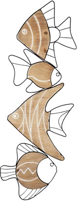 Stratton Home Metal and Wood Vertical Swimming Fish Wall Decor
