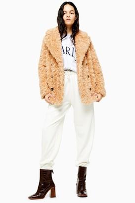 Topshop Womens Camel Textured Borg Coat - Camel