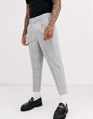 Asos Design DESIGN tapered crop smart trousers in oversized minimal check with elasticated waist in grey