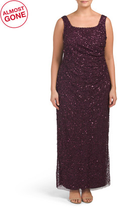 Plus All Over Beaded Long Gown