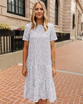 The Drop Women's White/Black Polka-Dot Tiered Midi Dress by @fashion_jackson S
