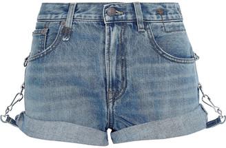 R 13 Hook-detailed Faded Denim Shorts