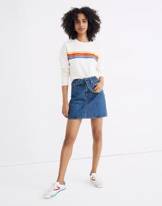 Madewell Rigid Denim Straight Mini Skirt in Haydel Wash: Tie-Waist Edition