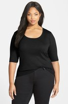 Sejour Plus Size Women's Elbow Sleeve Scoop Neck Tee