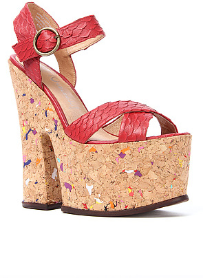 Jeffrey Campbell The Rubell Shoe in Red Snake
