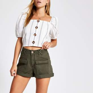 River Island Womens Khaki utility denim shorts