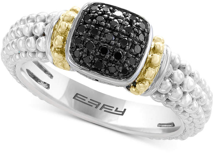 Effy Balissima by Diamond Beaded Ring (1/6 ct. t.w.) in Sterling Silver & 18k Gold
