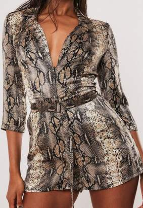 Missguided Brown Snake Print Belted Blazer Romper
