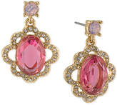 Carolee Gold-Tone Pink Stone and Pavé Drop Earrings