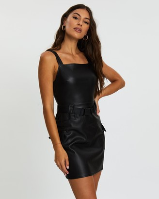 Missguided Faux Leather Belted Mini Dress