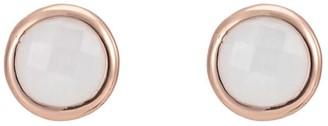 Katie Belle Sophina 18ct Rose Gold Vermeil Round Gemstone Stud Earrings - Rainbow Moonstone