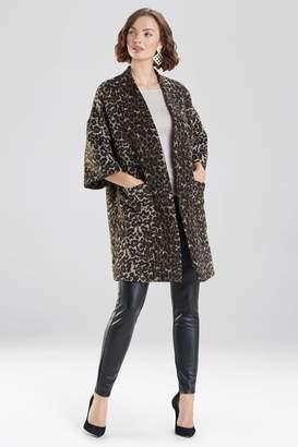 Natori Leopard Felted Wool Kimono