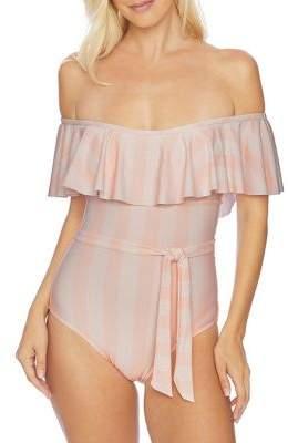 Splendid Long Lines Off-the-Shoulder One-Piece Swimsuit