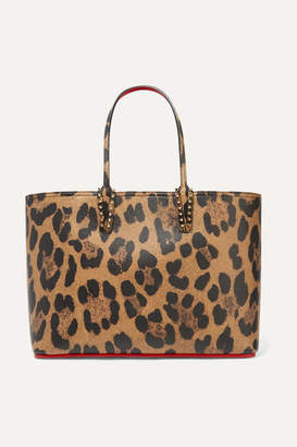 Christian Louboutin Cabata Spiked Leopard-print Textured-leather Tote - Leopard print