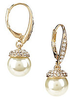 Cezanne Pave-Capped Faux-Pearl Drop Earrings