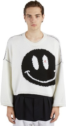 Raf Simons Oversize Smiley Virgin Wool Knit Sweater