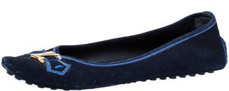 Louis Vuitton Blue Suede Leather Logo Ballet Flats Size 39.5