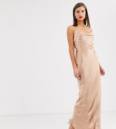 Asos Tall DESIGN Tall cami slip maxi dress in high shine satin with lace up back