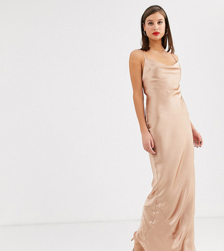Asos Tall DESIGN Tall cami slip maxi dress in high shine satin with lace up back-Brown