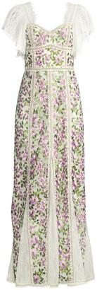 Alice + Olivia Devina Floral Fringe Maxi Dress