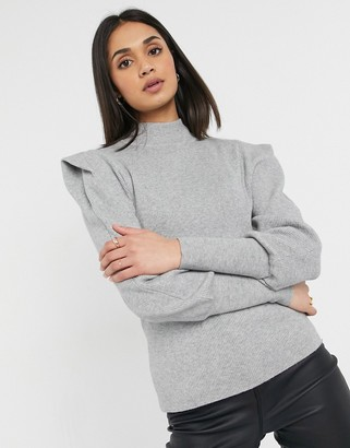 Vila high neck knitted jumpers with shoulder pads in grey