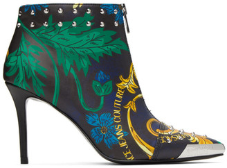 Versace Jeans Couture Multicolor Baroque Print Ankle Boots