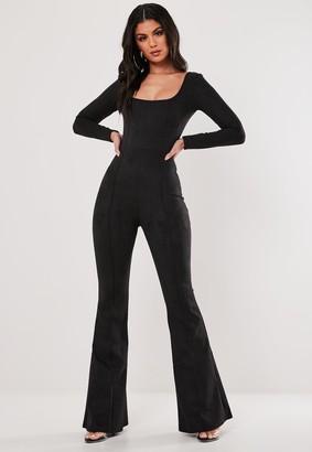 Missguided Black Suede Long Sleeve Wide Leg Jumpsuit