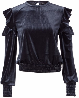 The Fifth Label Women's Exhibition Ruffle Cold Shoulder Velvet Top