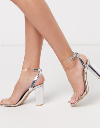 New Look clear strap heeled sandals in silver