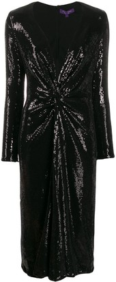 Ralph Lauren Sequin Embroidery Midi Dress