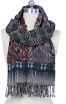 Saachi Black & Wine Woven Wool Wrap