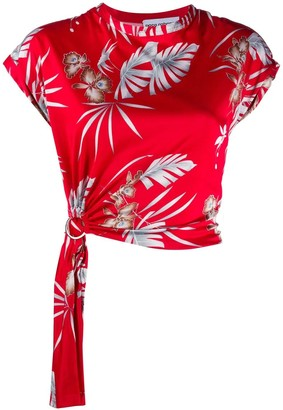 Paco Rabanne Red Foliage Floral Printed Top